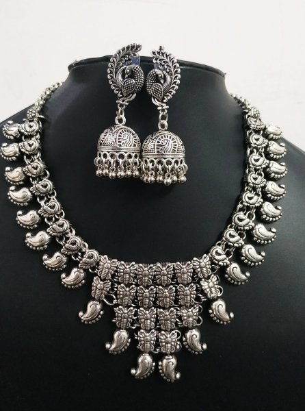 Traditional Oxidised Heavy Necklace Set