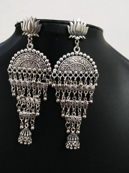 Oxidised Long Earrings