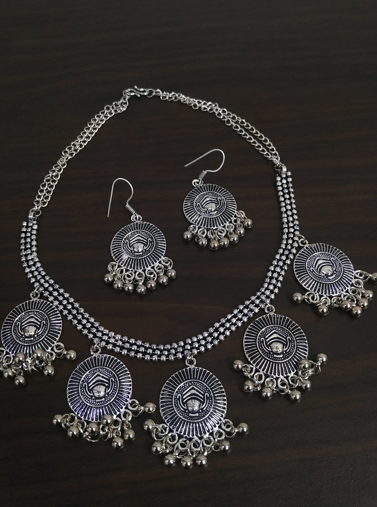 Oxidised Ball Chain Latkan Necklace Set