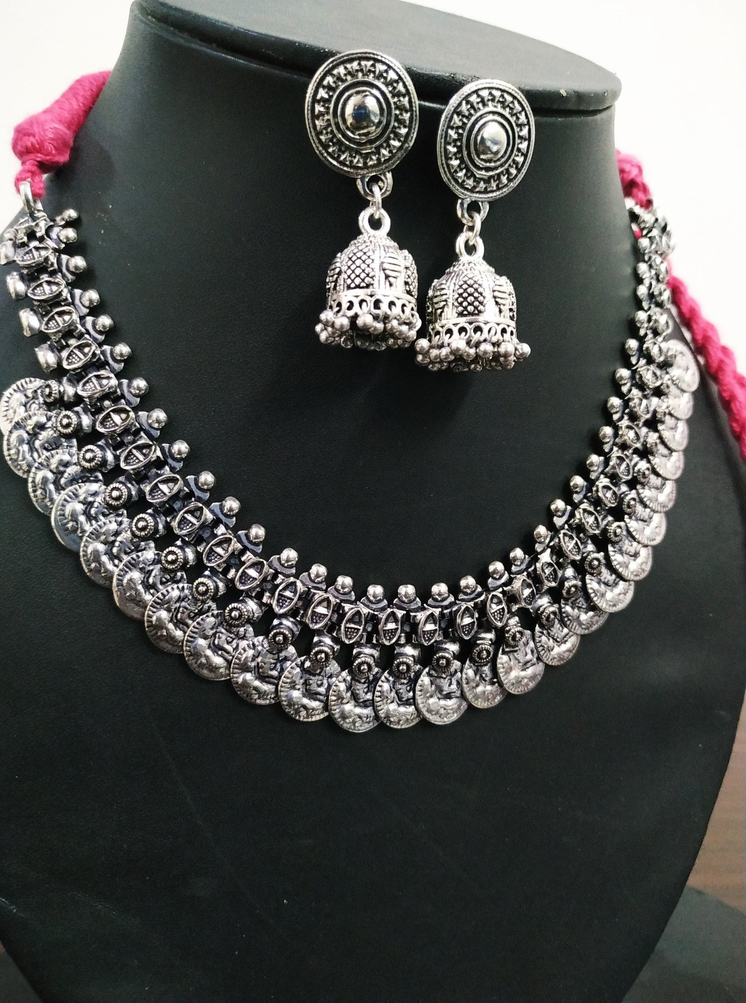 Charming Temple Oxidised Necklace Set