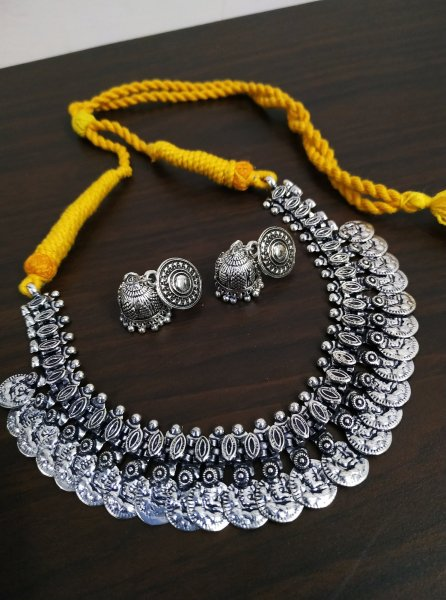 Ethnic Oxidised Thread Temple Necklace Set