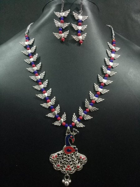 Funky Colorful Peacock Necklace Set