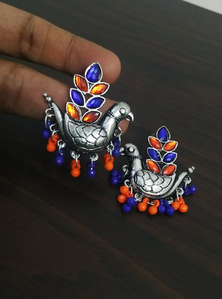 Trendy Peacock Stone Earrings