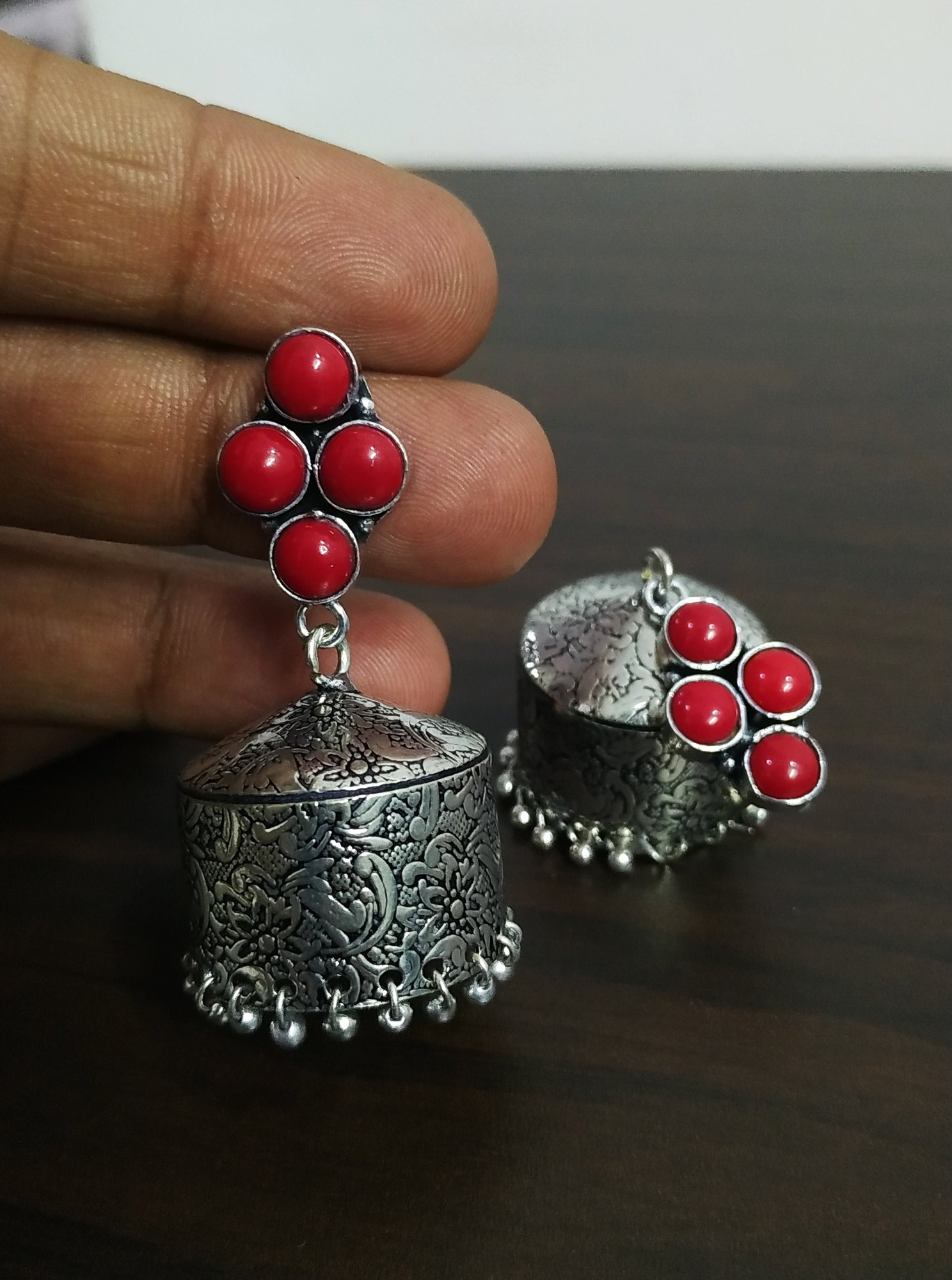 Handicrafted Stone Oxidised Jhumka
