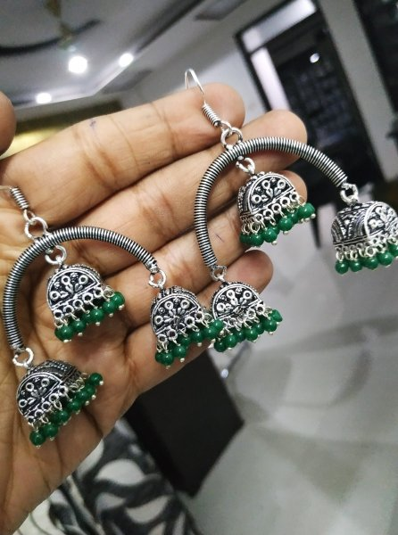 Sparkling Oxidised Triple Beaded Jhumka