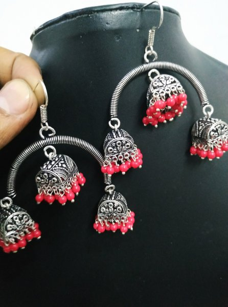 Splendid Oxidised Triple Hut Jhumki