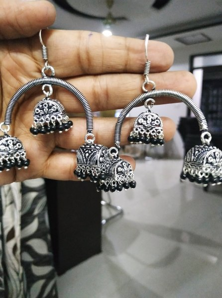 Cocktail Oxidised Beaded Hut Jhumka
