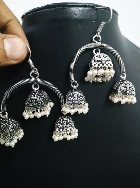Artistic Triple Beaded Jhumki