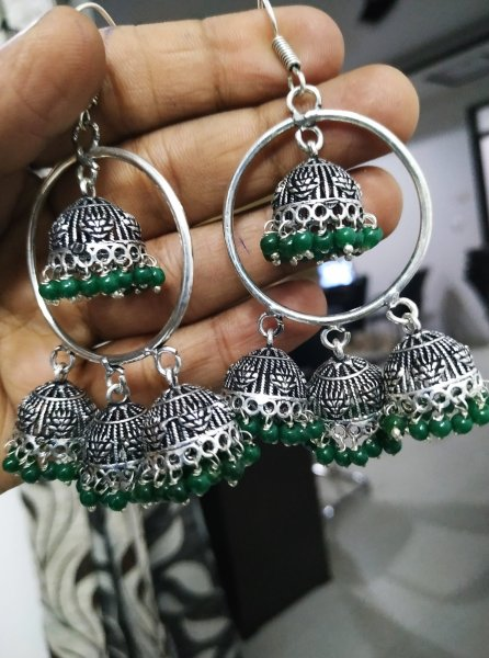 Graceful Triple Oxidised  Jhumki