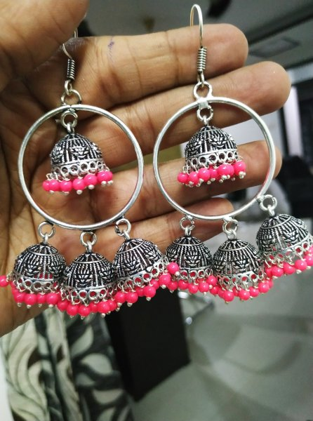 Exemplary Triple Beaded Ring Jhumki