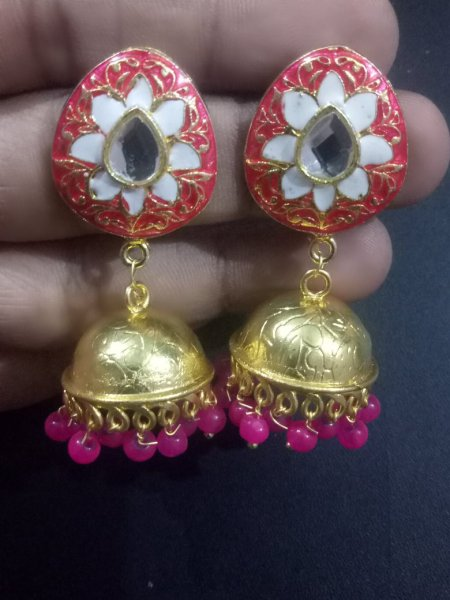 Cheerful Enamel Golden Jaipuri Jhumka