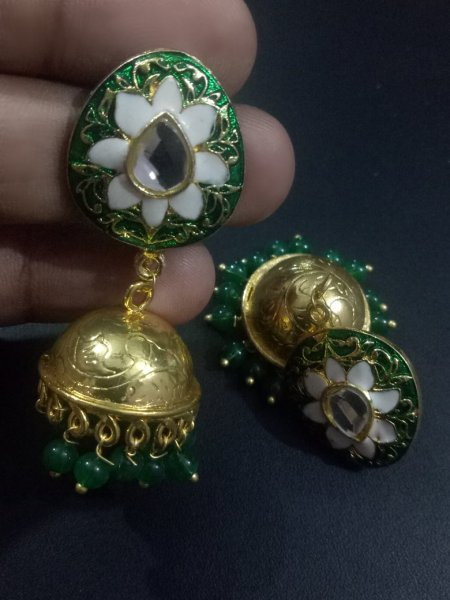 Pretty Enamel Golden jaipuri Jhumka