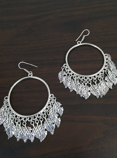 Antique Leaf Big Earrings