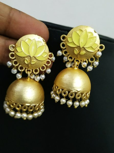 Magnificent Lotus Jaipuri Earrings