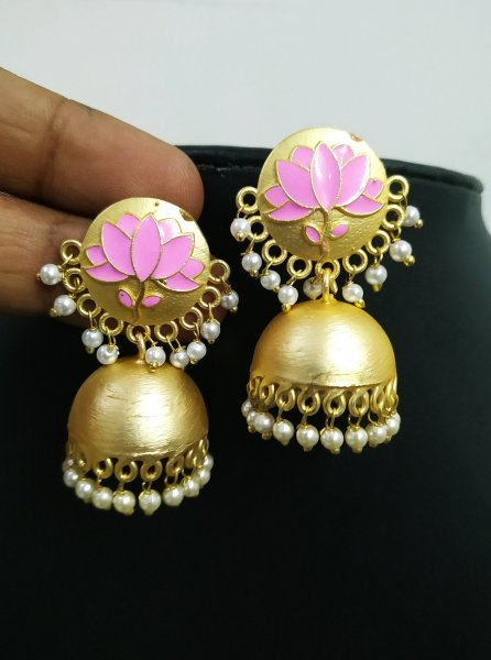 Splendid Rose Gold Lotus Jhumka