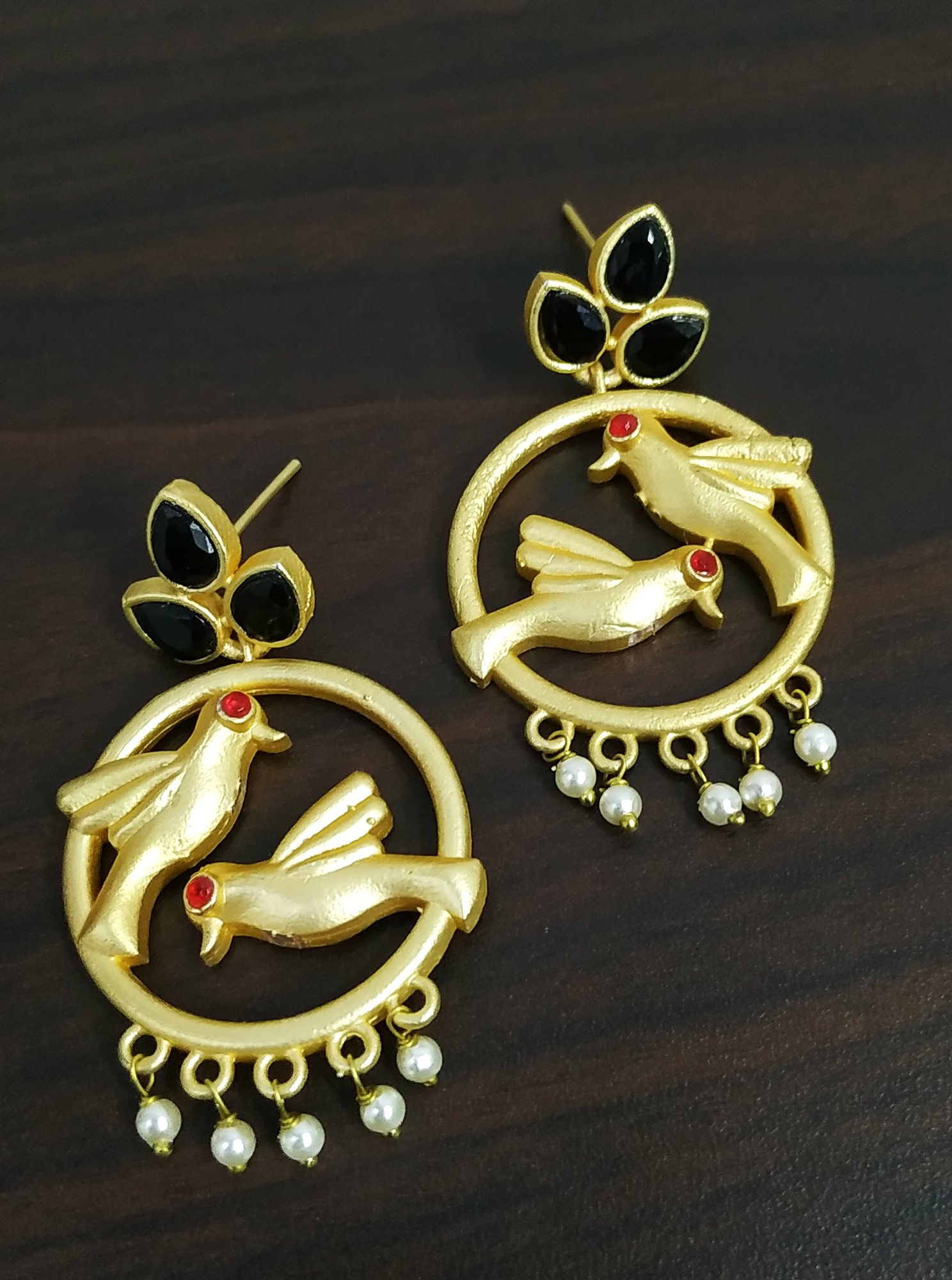 Gorgeous Parrot Matt Gold Earrings