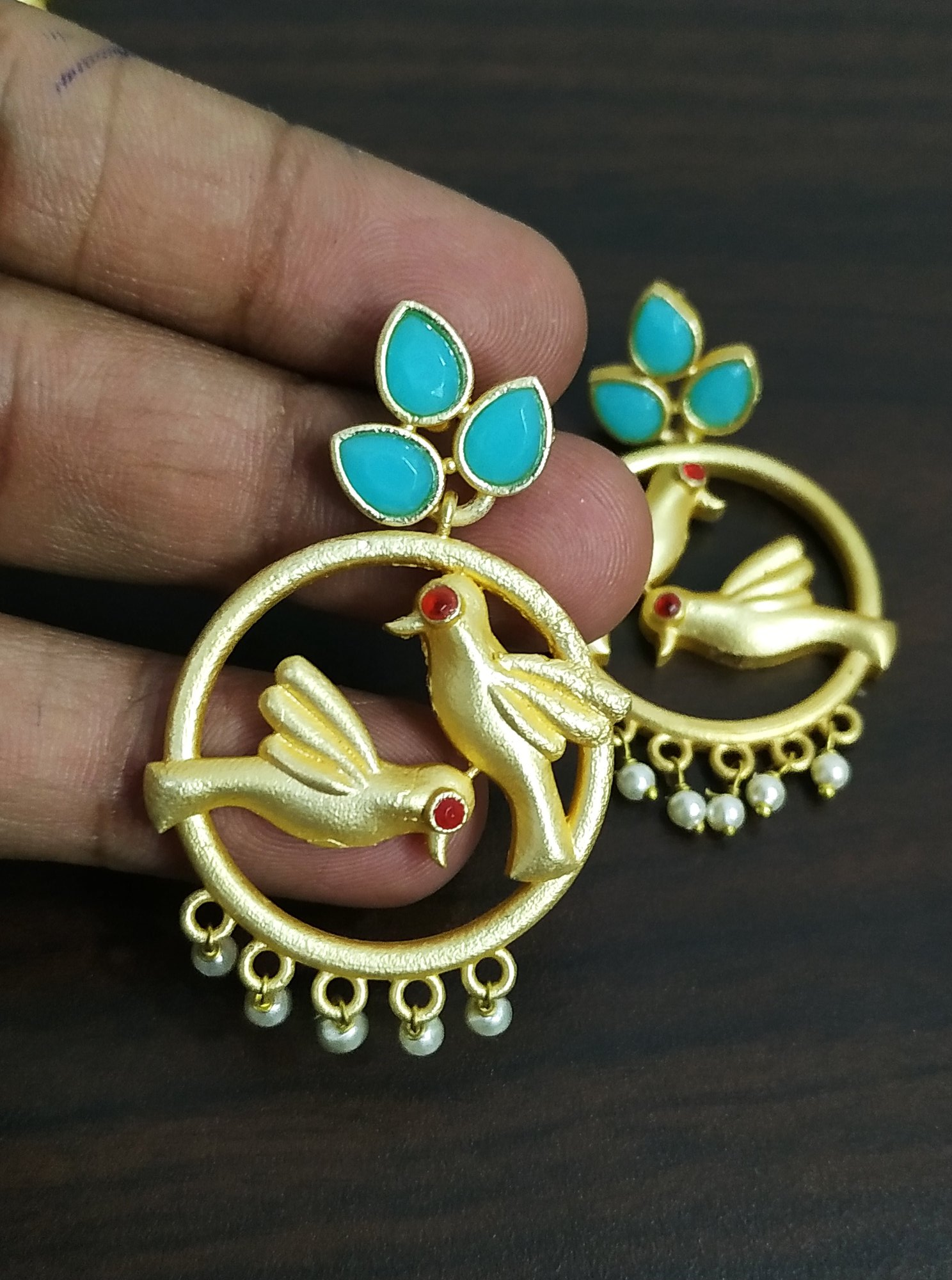 Likable Parrot Jaipuri Earrings