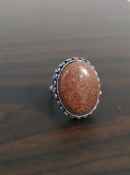 Ethnic Oxidised Stone Finger Ring