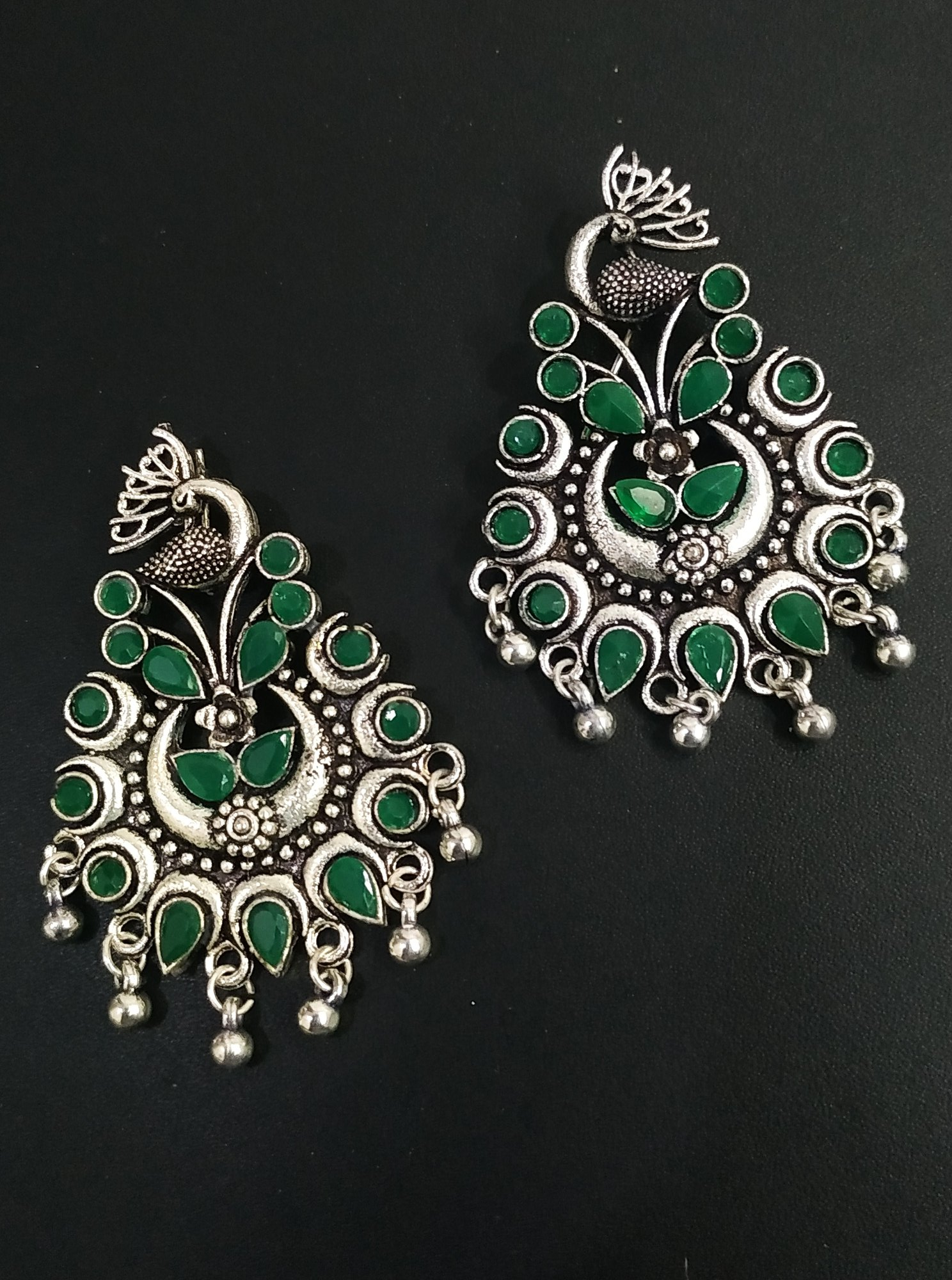 Antique Stone Peacock Earrings