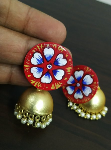 Handpainted Golden Matt Jhumka