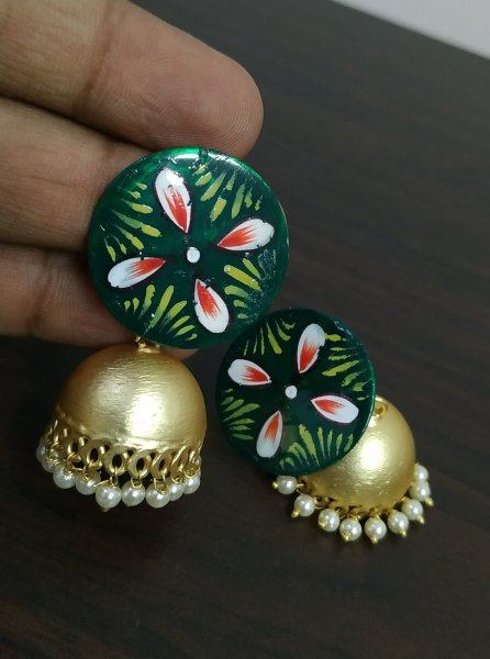 Gorgeous handpainted Golden Matt Jhumka