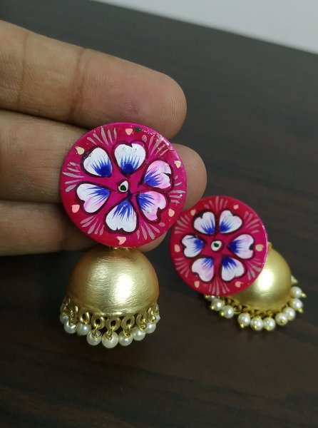 Trendy Handpainted Matt Gold Jhumka