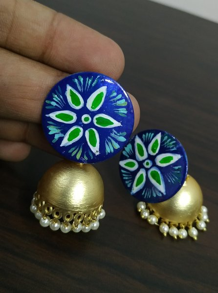 Elegant Handpainted Rose Gold Jhumka