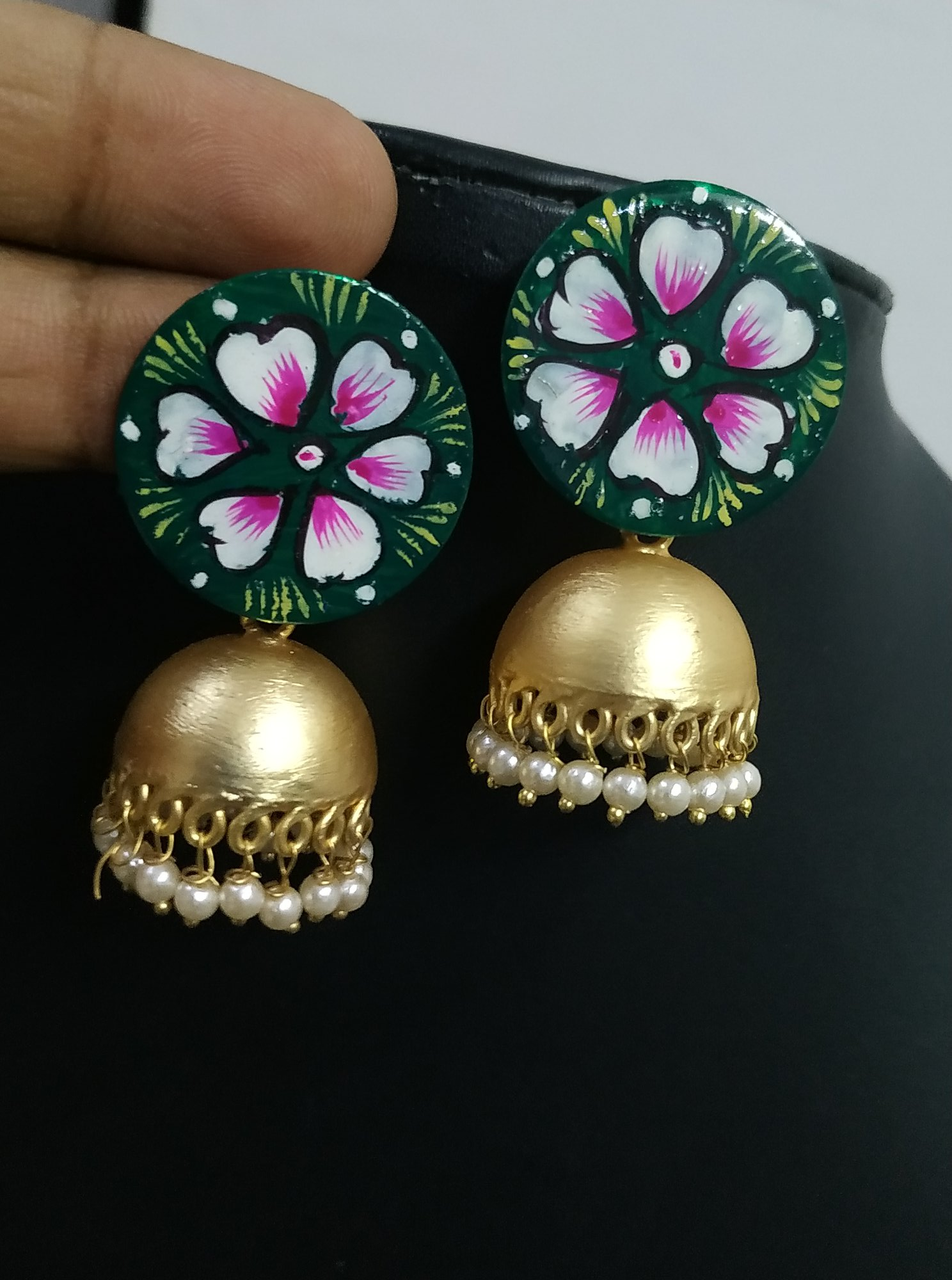 Designer Handpainted Rose Gold Jhumka