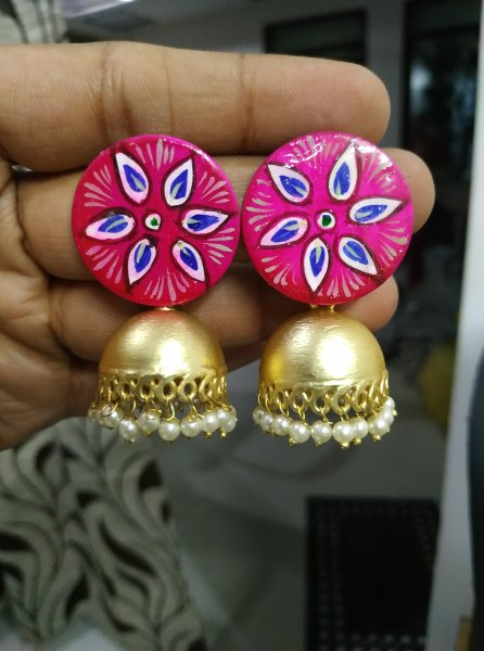 Gorgeous Handpainted Jaipuri Matt Gold Jhumka