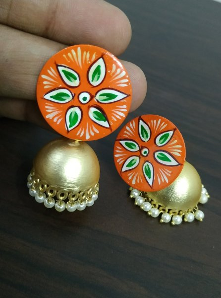 Ethnic Rose Gold Handpainted Jhumka