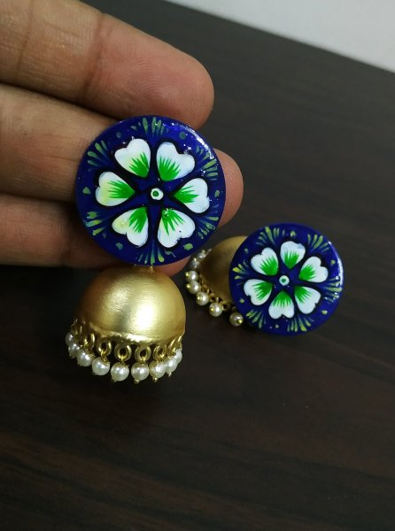 Lovable Handpainted Golden Matt Jhumka