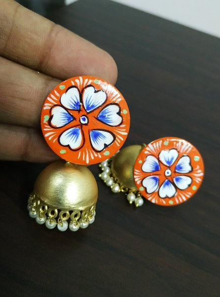 Rose Gold Handpainted Studd Jhumka