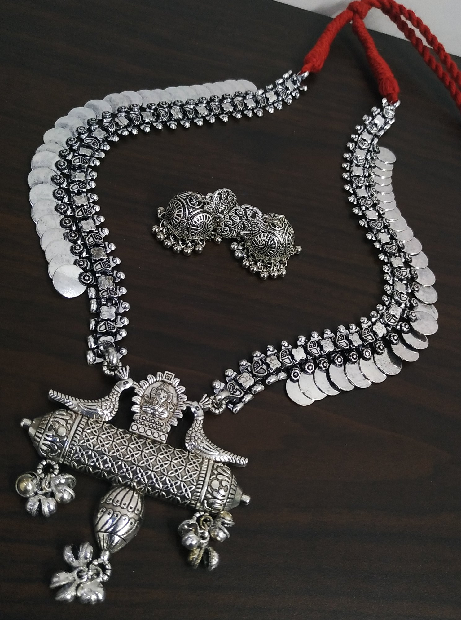 Long Oxidised Peacock Bahubali Set