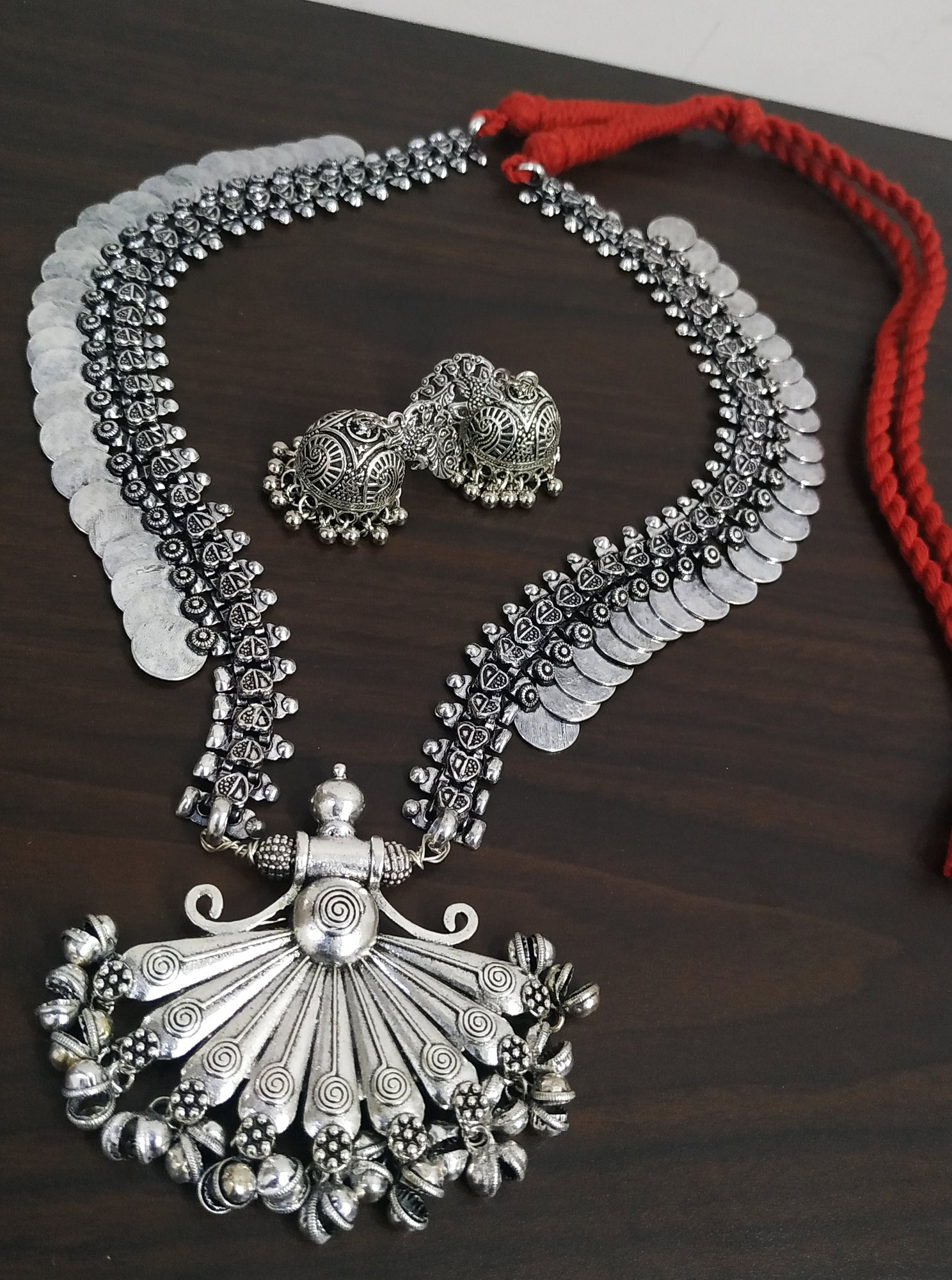Royal Long Oxidised Coin Necklace Set