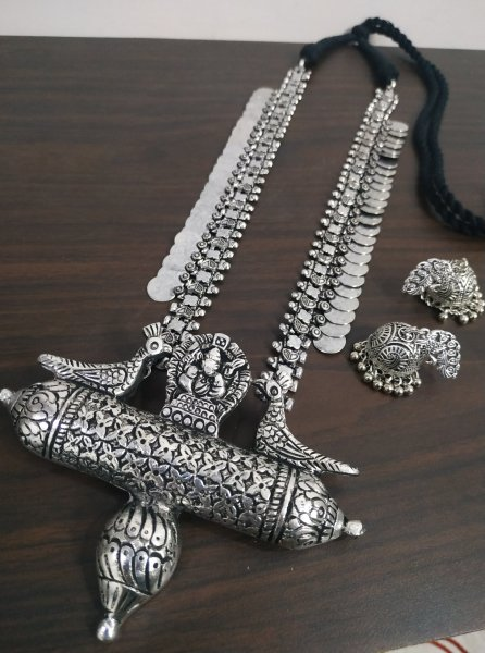 Royal Peacock Long Temple Necklace Set