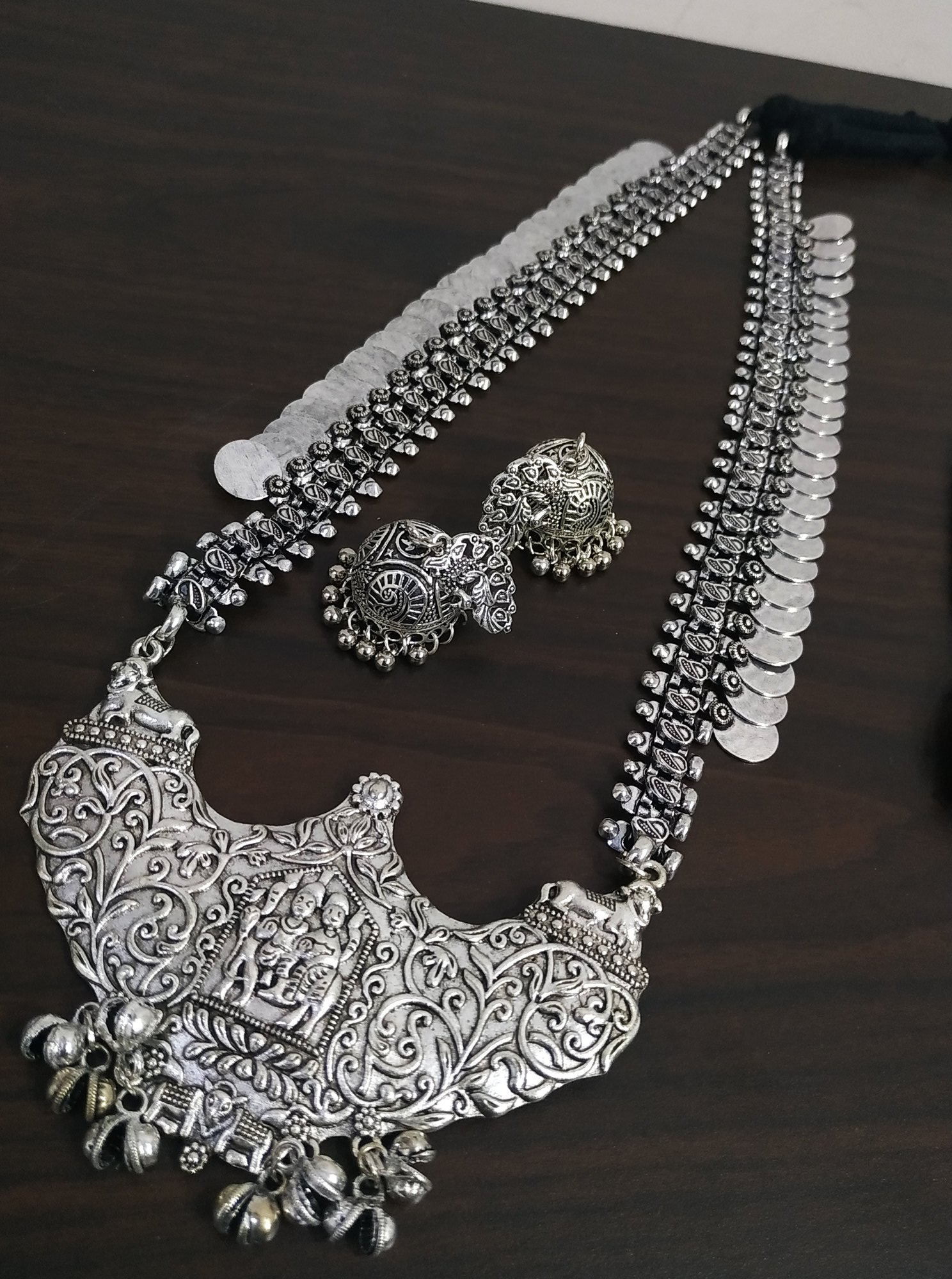Designer Long Oxidised Temple Necklace Set