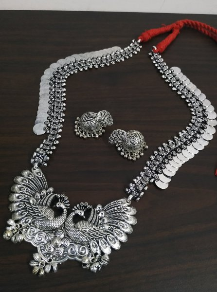 Exclusive Peacock Oxidised Necklace Set
