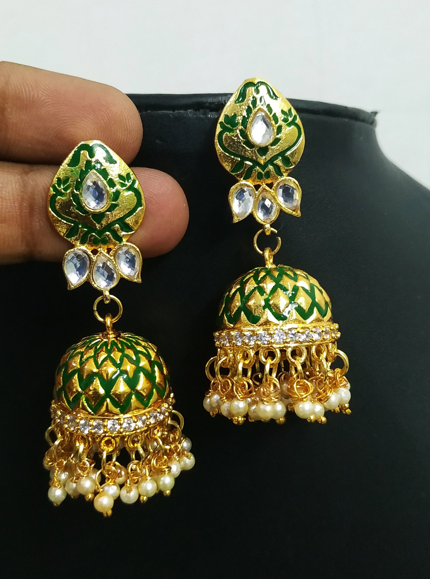 Beautiful Ad Studded Enamelled Jhumki