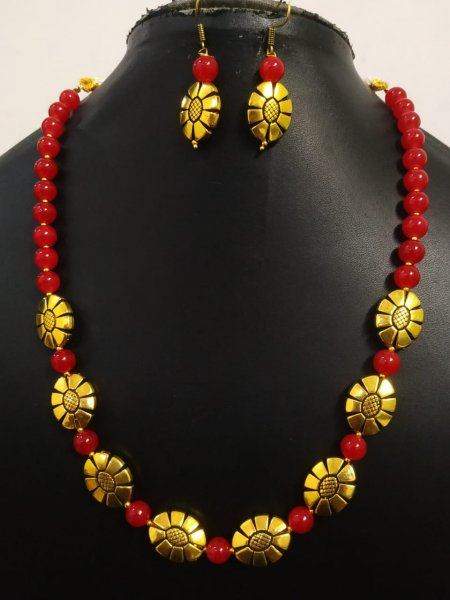 Attractive Oxidized Antique Golden Beaded Necklace