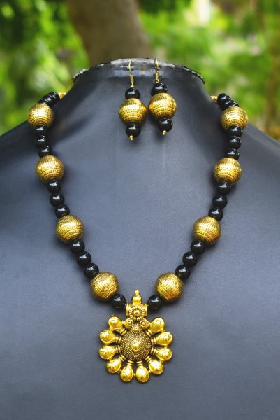 Ethnic Designed Round Golden Necklace Set