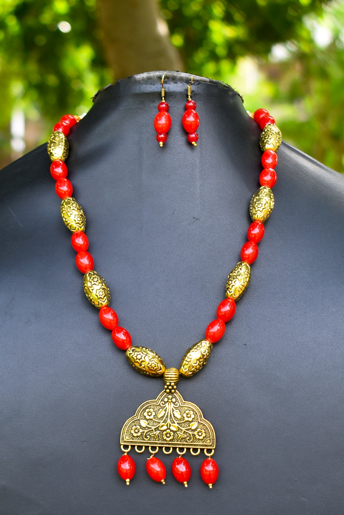 Tribal Ethnic Beaded Golden Necklace Set
