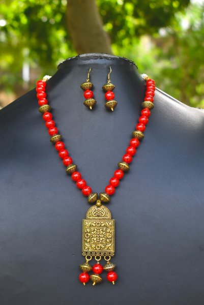 Artistic Antique Beaded Necklace Set