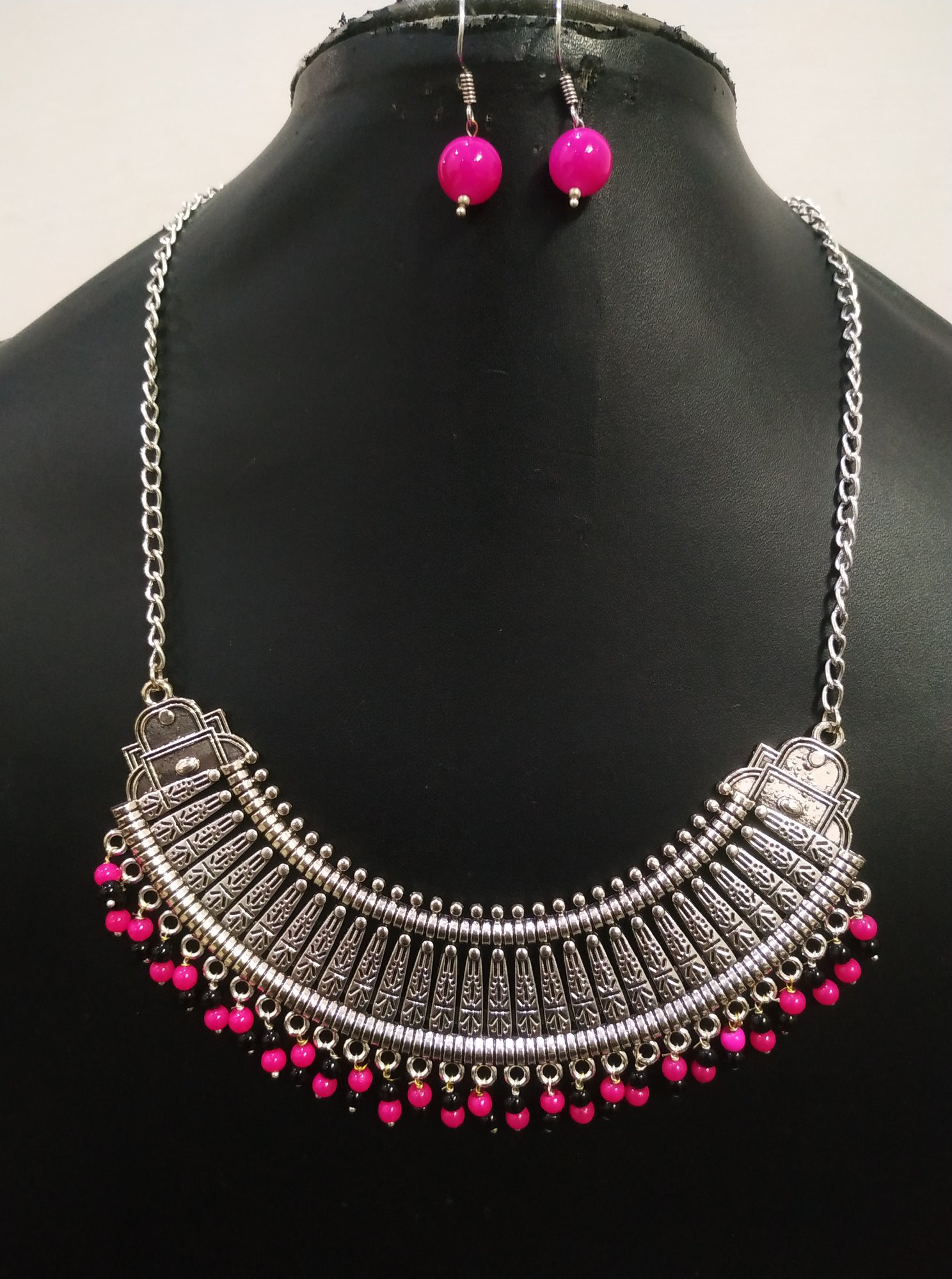 Artistic Long Chain Oxidised Necklace Set