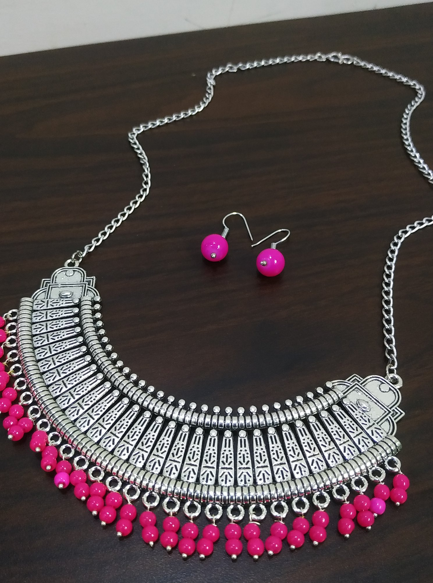 Attractive Oxidised Long Necklace Set