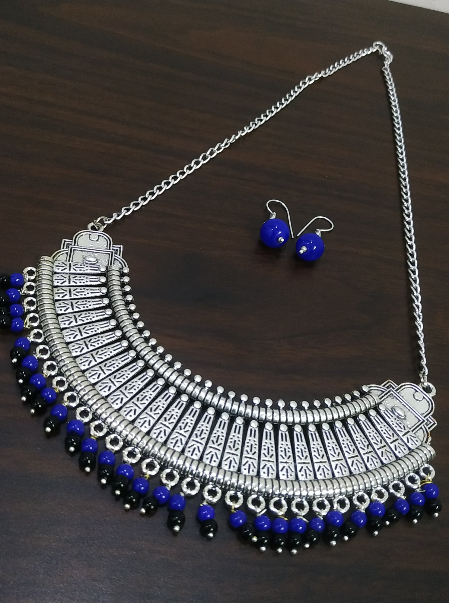 Gorgeous Ethnic Long Beaded Oxidised Necklace Set