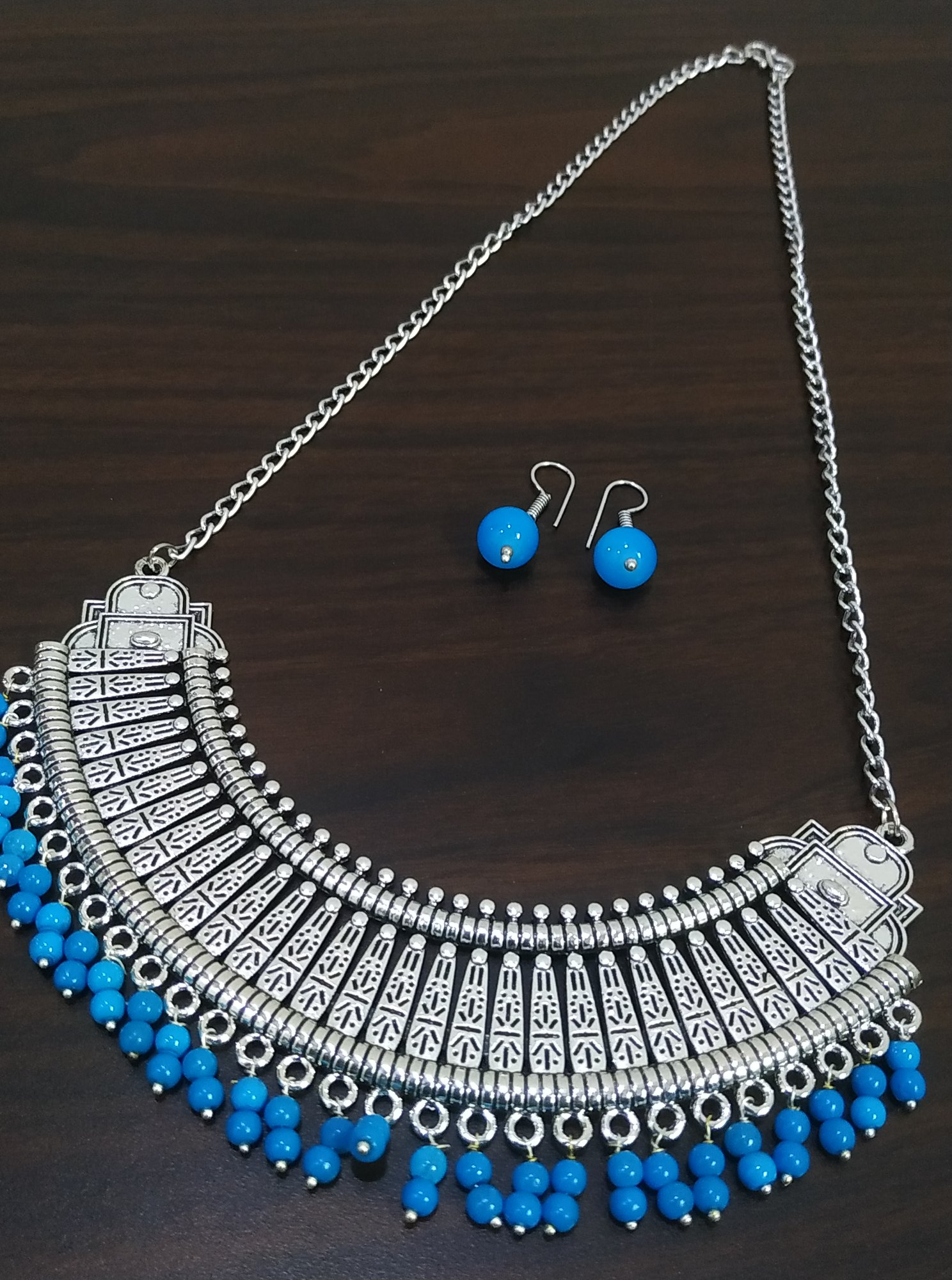Designer Oxidised Long Chain Hasli Necklace Set