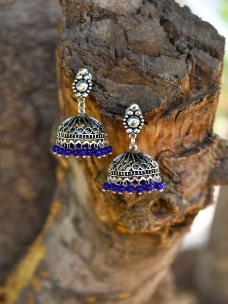 Beautiful Oxidised Beaded Jhumka