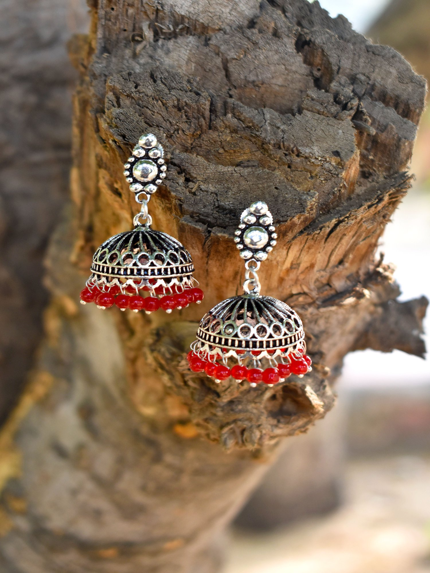 Gorgeous Oxidised Beaded Jhumka