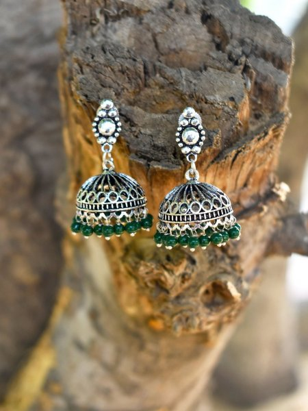Artistic Beaded Oxidised Jhumki