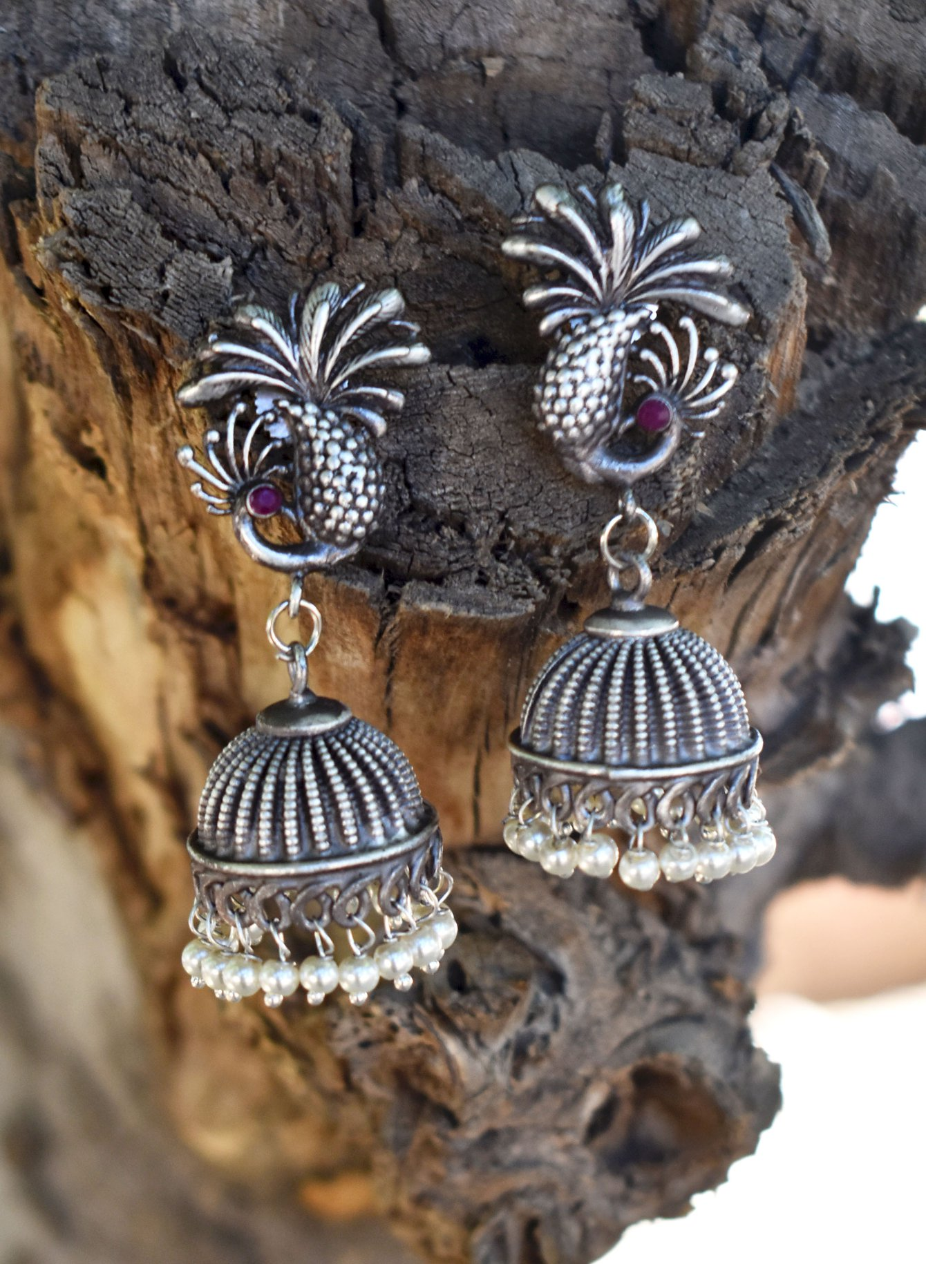 silver lookalike handmade earrings
